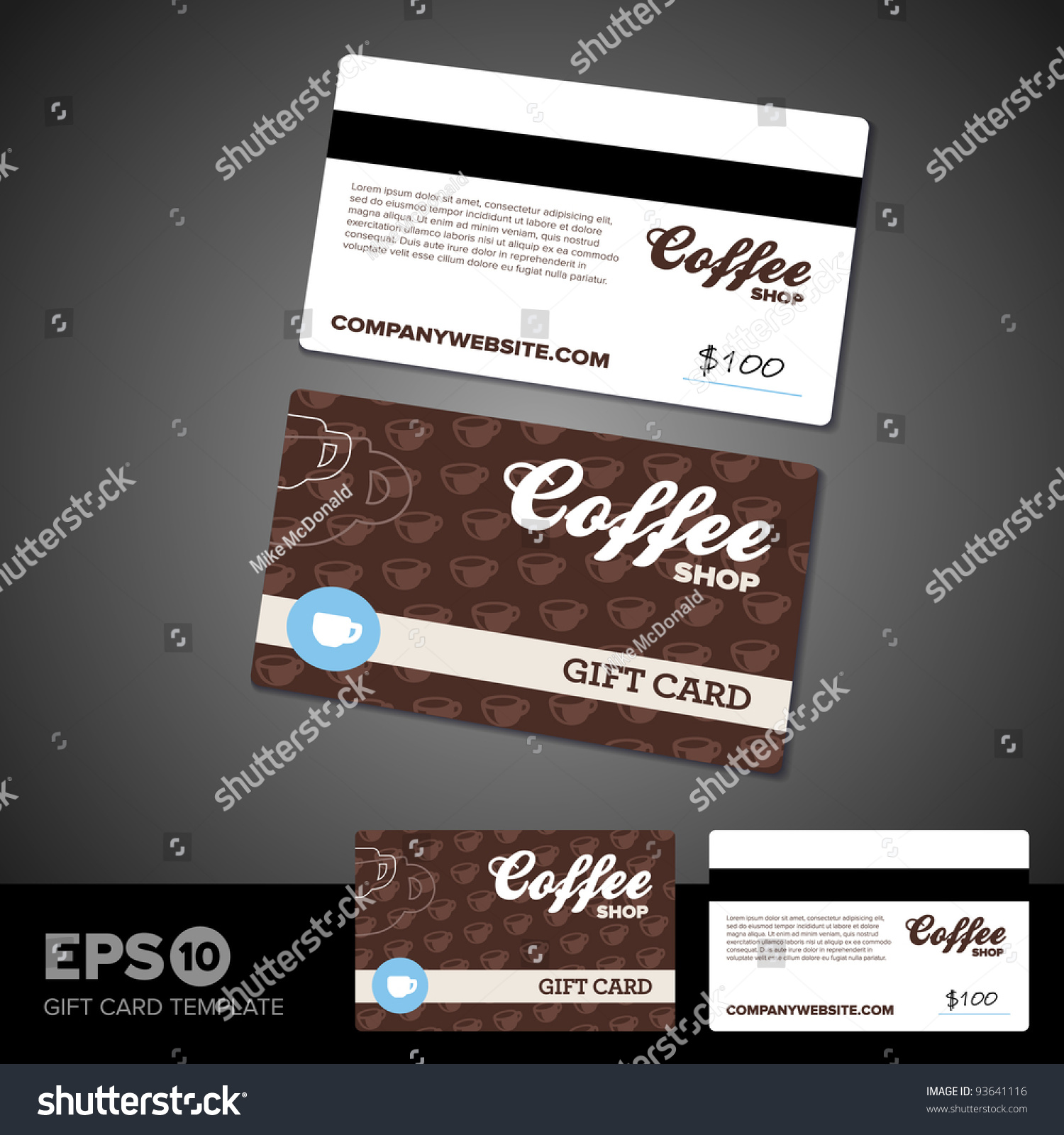 coffee shop cafe gift card template stock vector 93641116 shutterstock. Black Bedroom Furniture Sets. Home Design Ideas