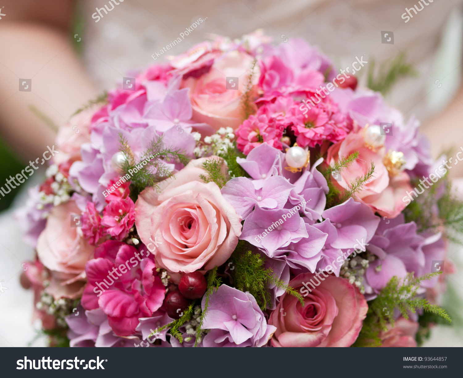 Round Wedding Bouquet Pink Flowers Stock Photo Royalty Free