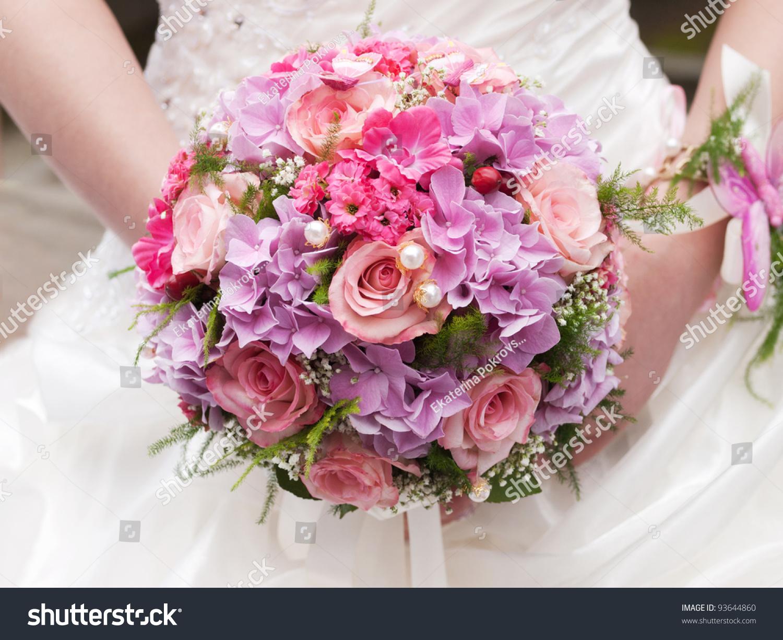 Round wedding bouquet pink flowers stock photo royalty free round wedding bouquet of pink flowers mightylinksfo