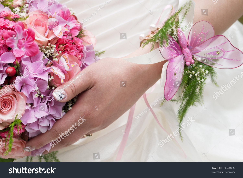 Round Wedding Bouquet Pink Flowers Girls Stock Photo Edit Now