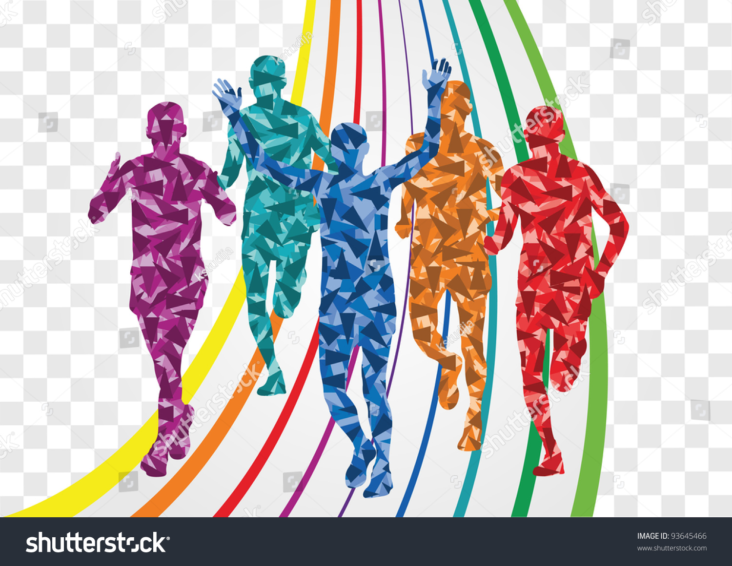 Marathon Runners Colorful Rainbow Landscape Background ...
