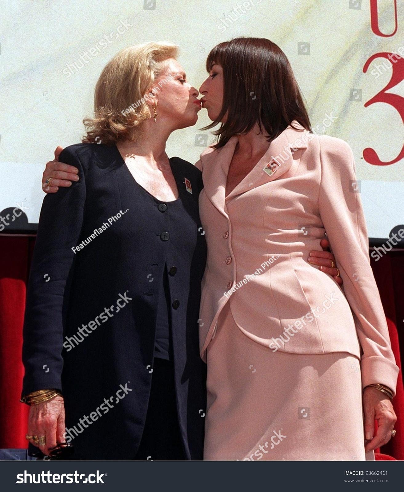 31jul97 actresses lauren bacall left anjelica stock photo (edit now