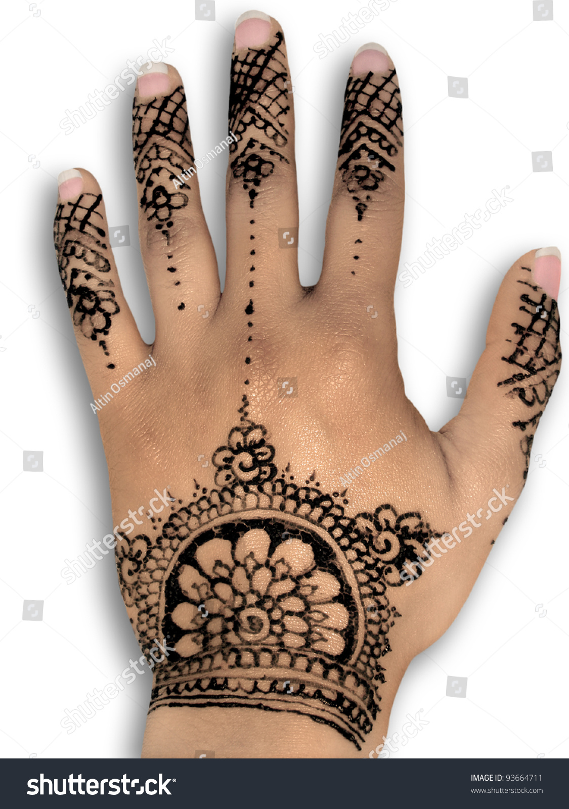 Henna tattoo body art white background stock photo for Henna body tattoo