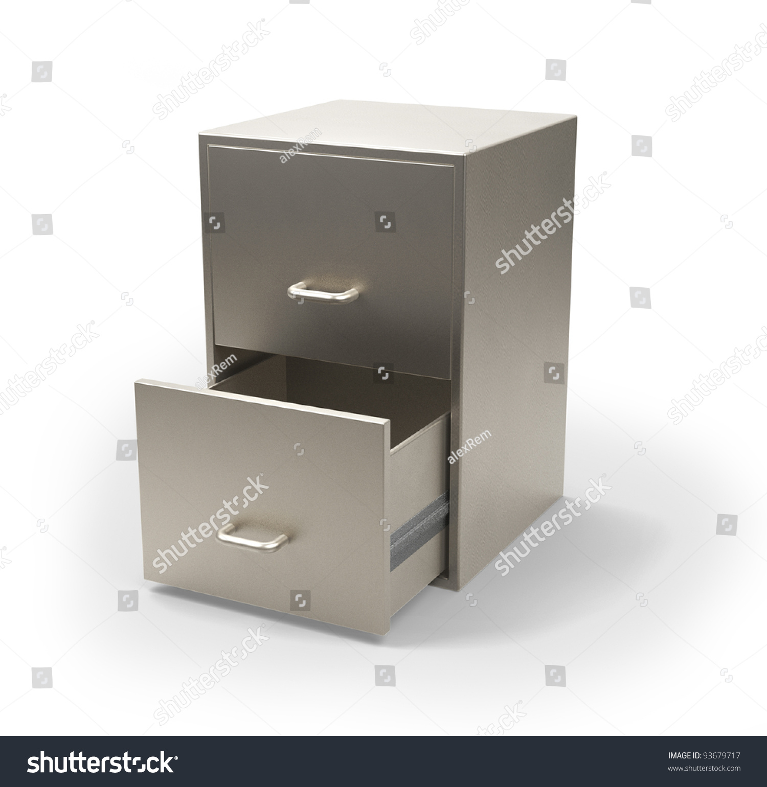 Cabinet For Documents Isolated On White 3d Model Stock