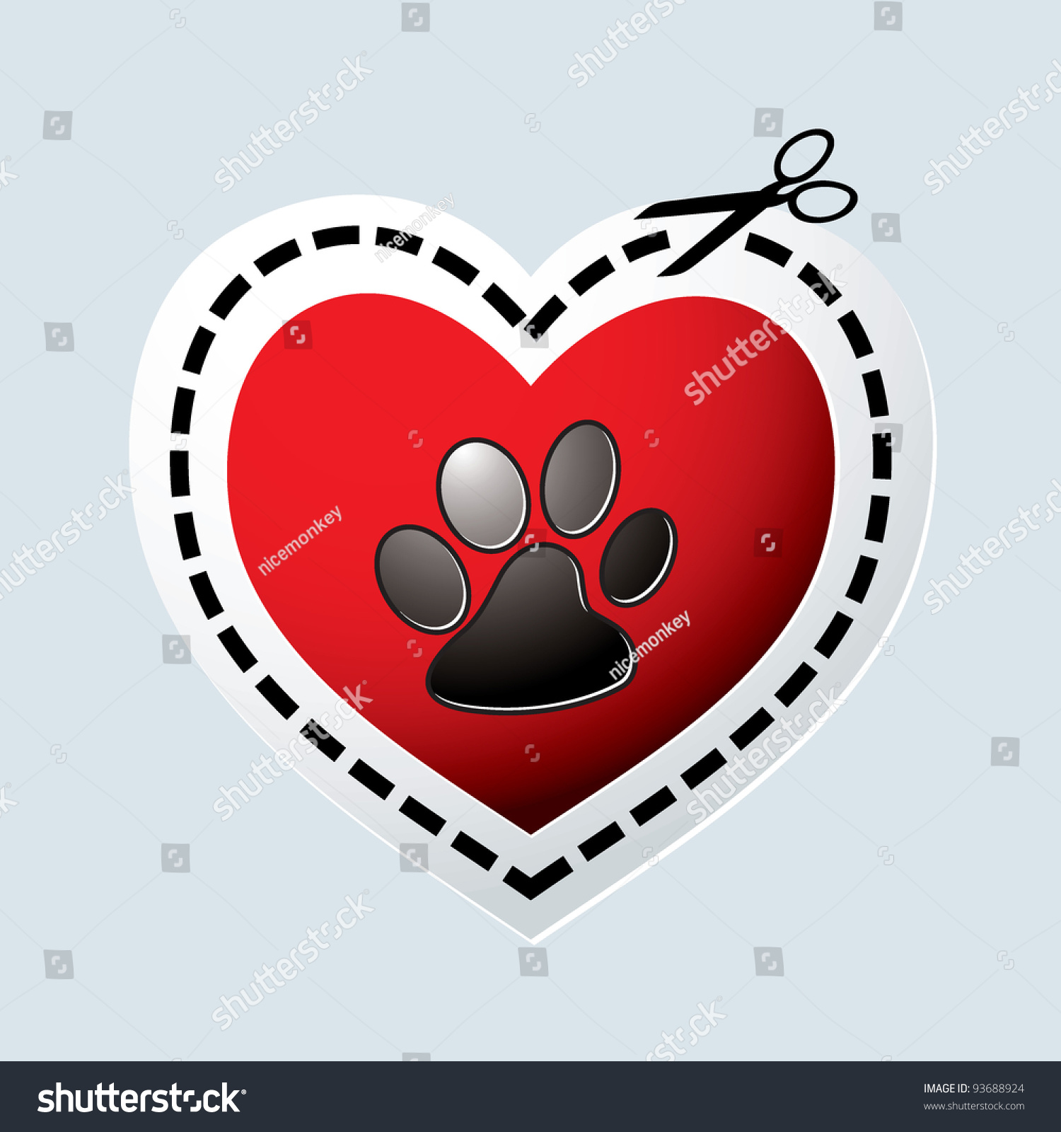 Red love heart with dogs paw print and dotted line stock for Red line printing