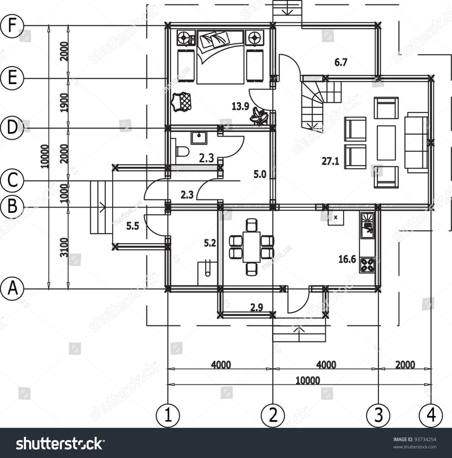 Architectural drawing house autocad vector stock vector for Home architecture cad