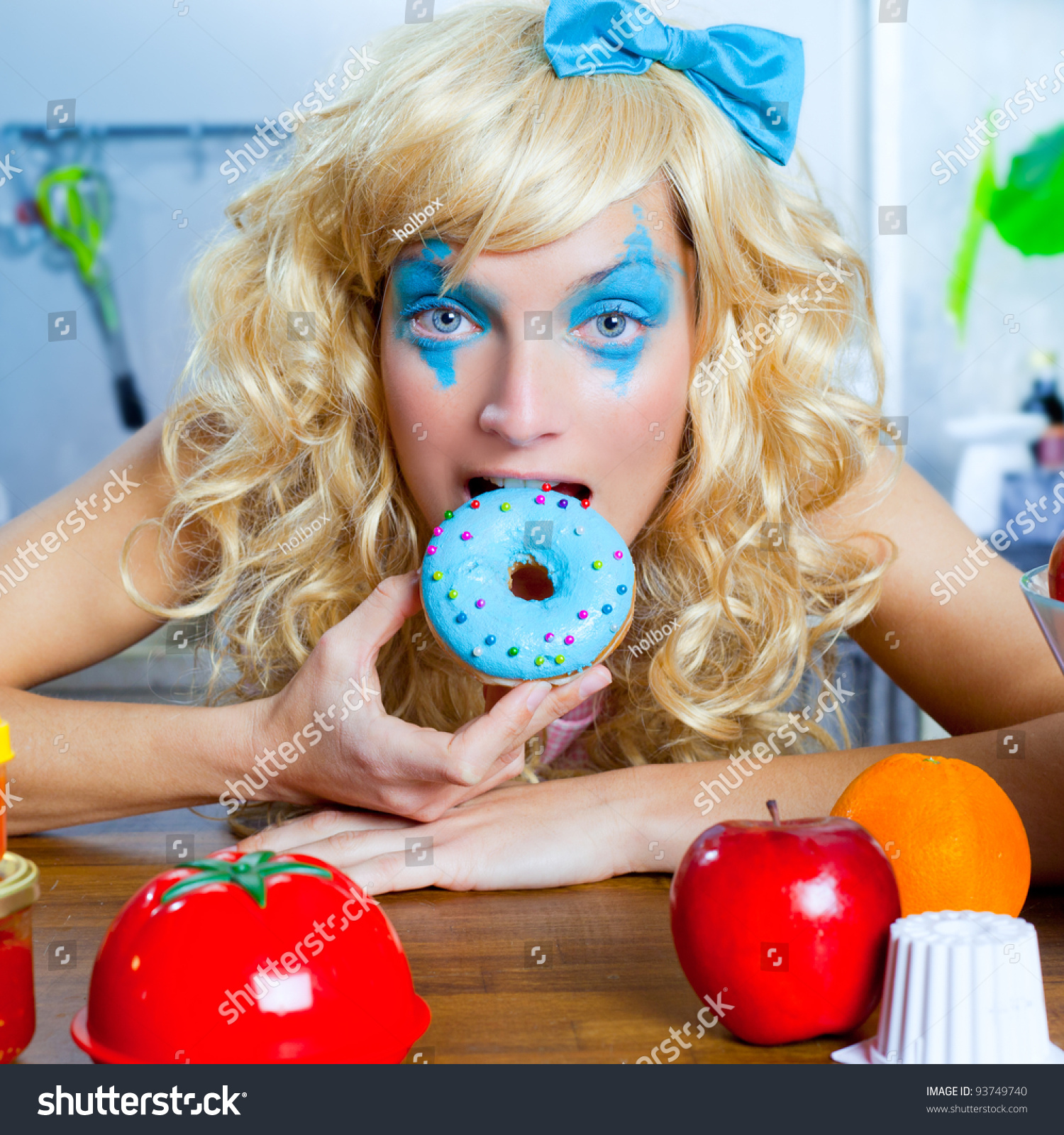 Something Blond Blue Kitchens: Blonde Funny Girl On Kitchen Eating Stock Photo 93749740