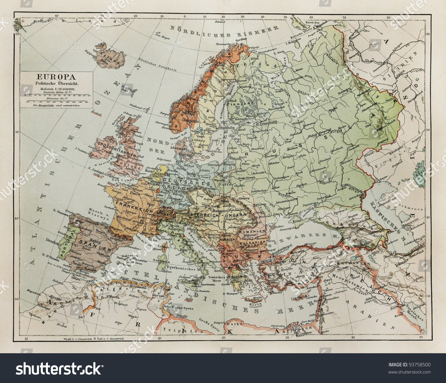 Vintage Map Europe End 19th Century Stock Photo (Edit Now) 93758500 ...