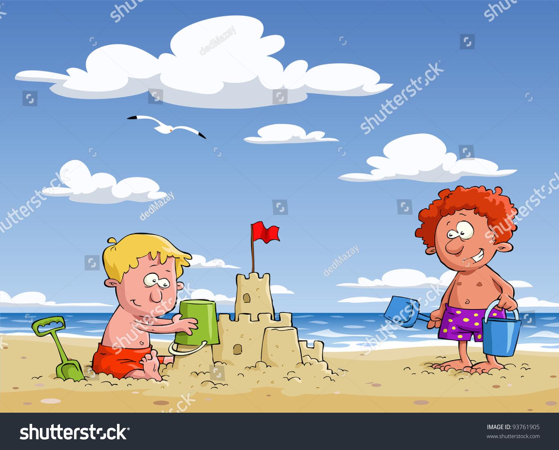 Cartoon Children On Beach Vector Illustration Stock Vector