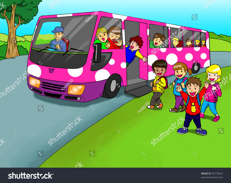 cartoon illustration children school bus stock