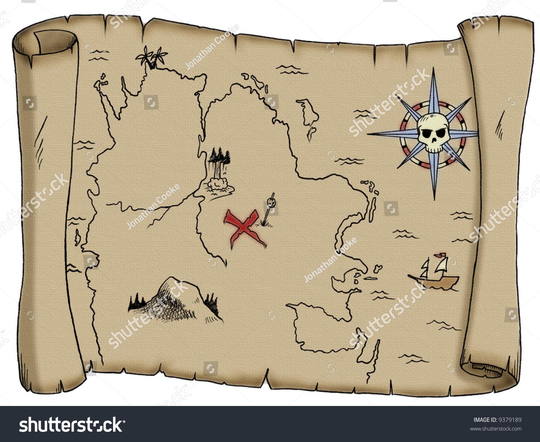 A Tattered Blank Pirate Treasure Map