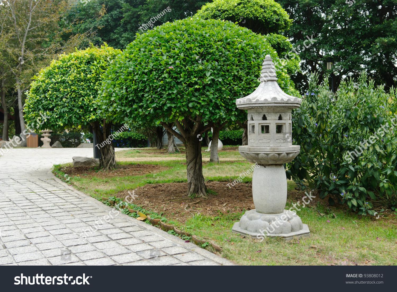Japanese Stone Lantern In Garden