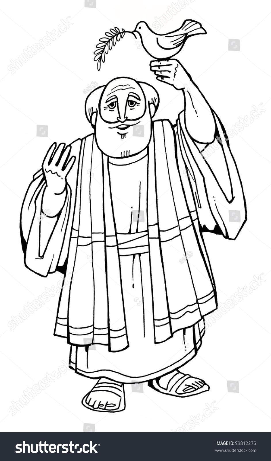 bible hero patriarch noah ark dove stock illustration