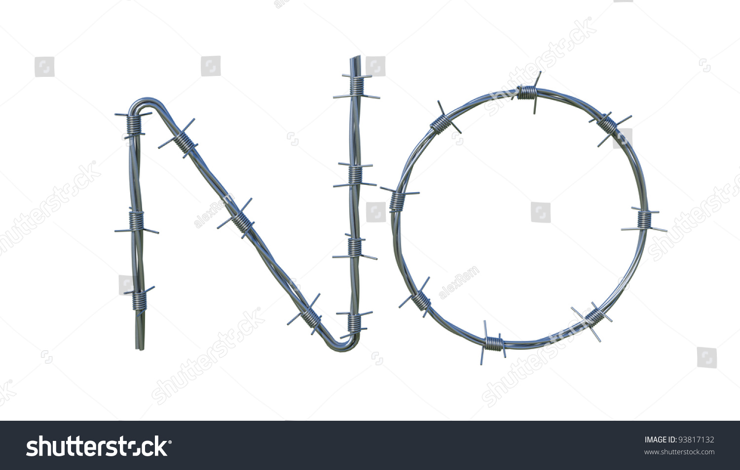Barbed Wire Symbol No Isolated 3d Stock Illustration 93817132 ...