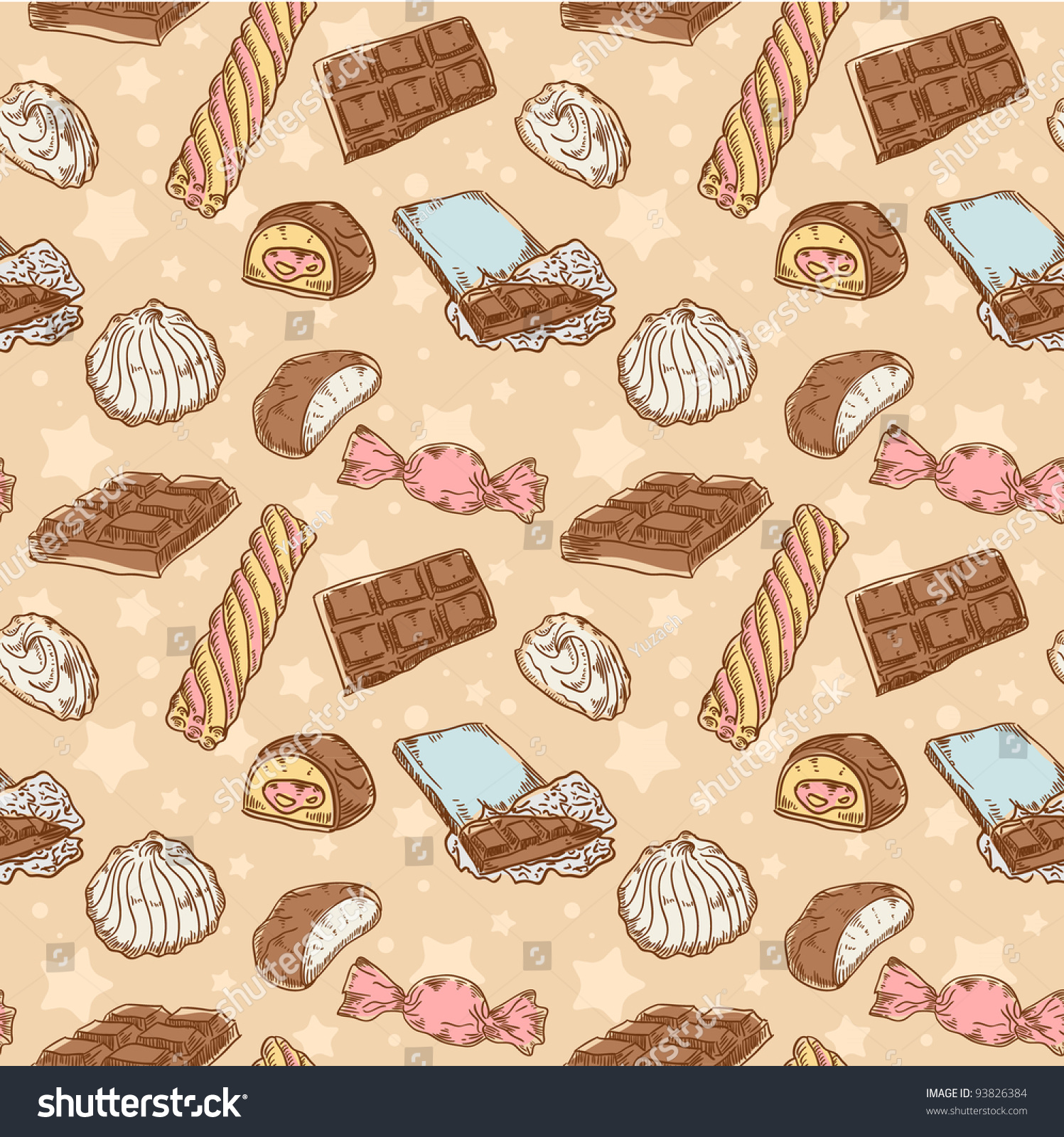 Vintage seamless texture with sweets, candies, chocolate bars and marshmallow on stars and dots