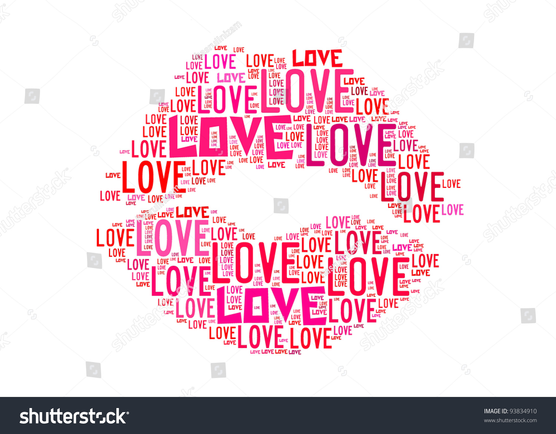 Kiss Symbol Love Text Graphics Arrangement Stock Illustration