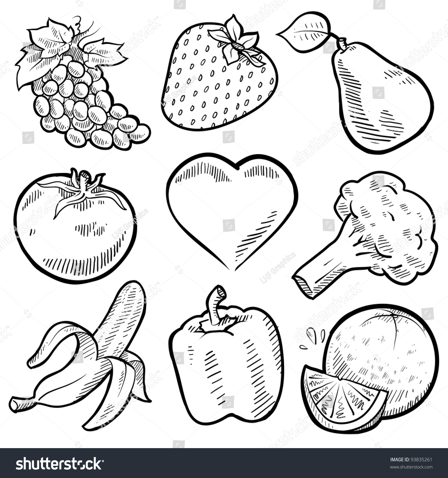 doodle style healthy fruits vegetables sketch stock vector