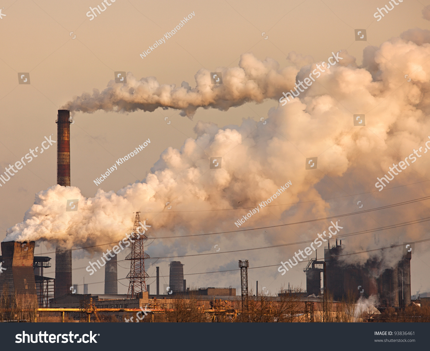 Chemical Factory With Smoke Stack Stock Photo 93836461