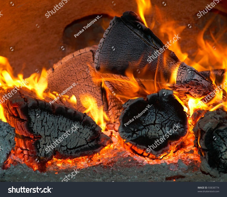 Burning Wood Coal Fireplace Stock Photo 93838774