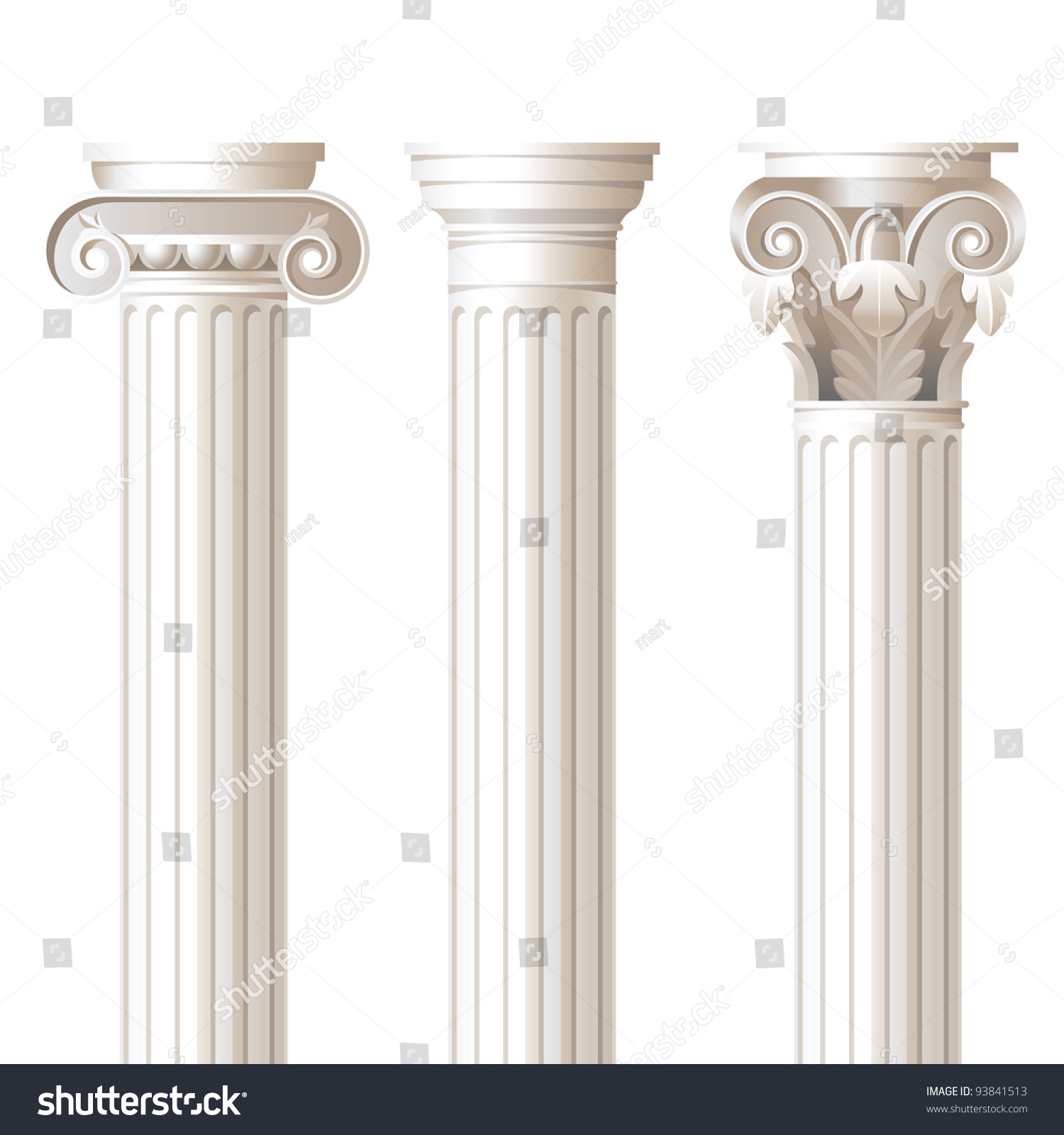 3 columns different styles ionic doric stock vector for Columns designs