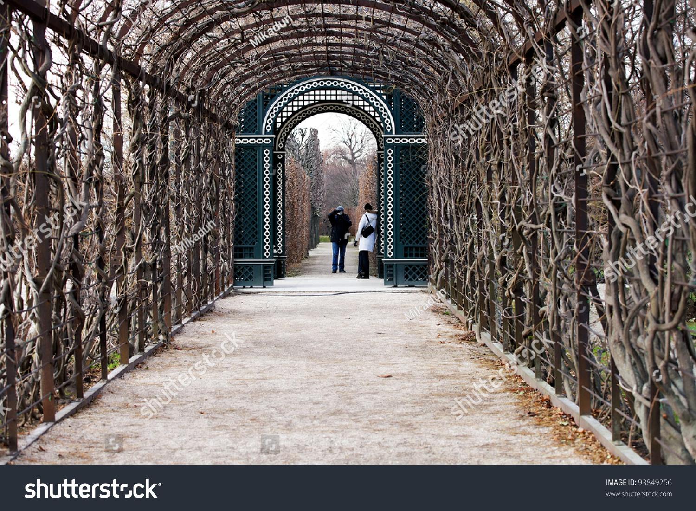 schoenbrunn castle garden winter wien europe stock photo 93849256