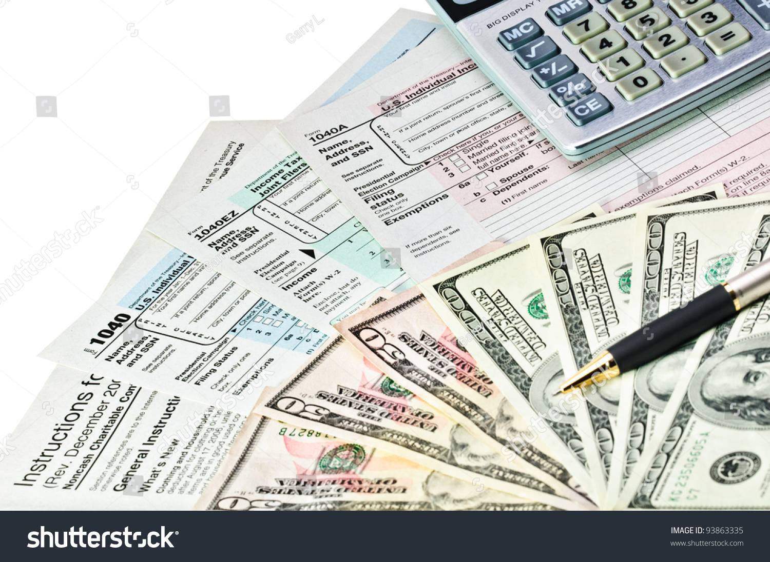 Tax forms 1040 with pen calculator and money stock photo for 1040 tax table calculator