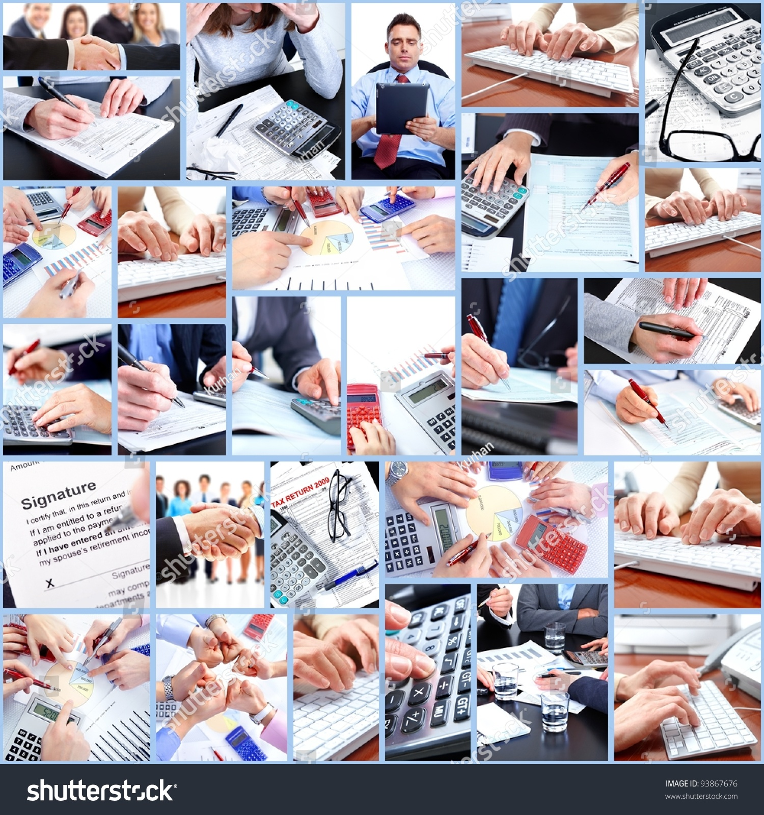 business people working in the office collage