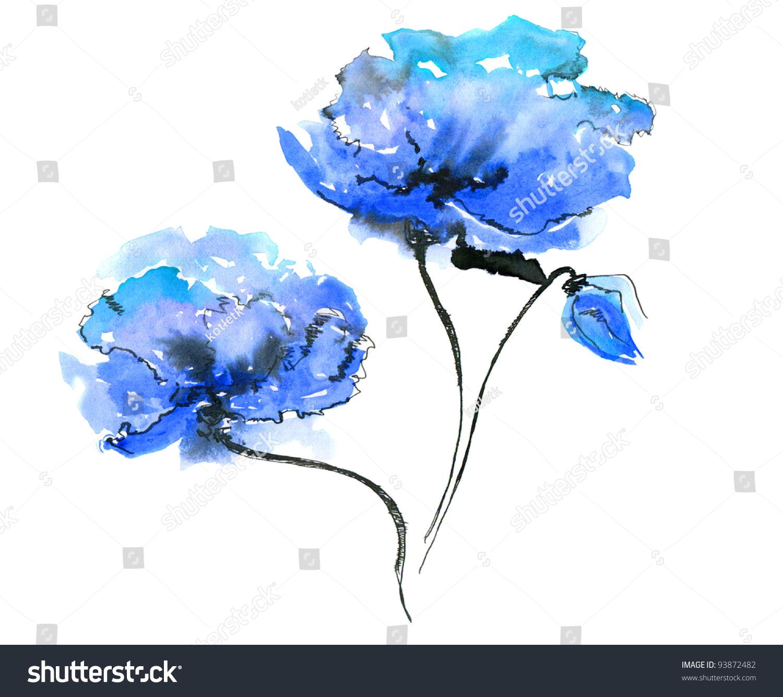 blue flower on white background stock photo 93872482