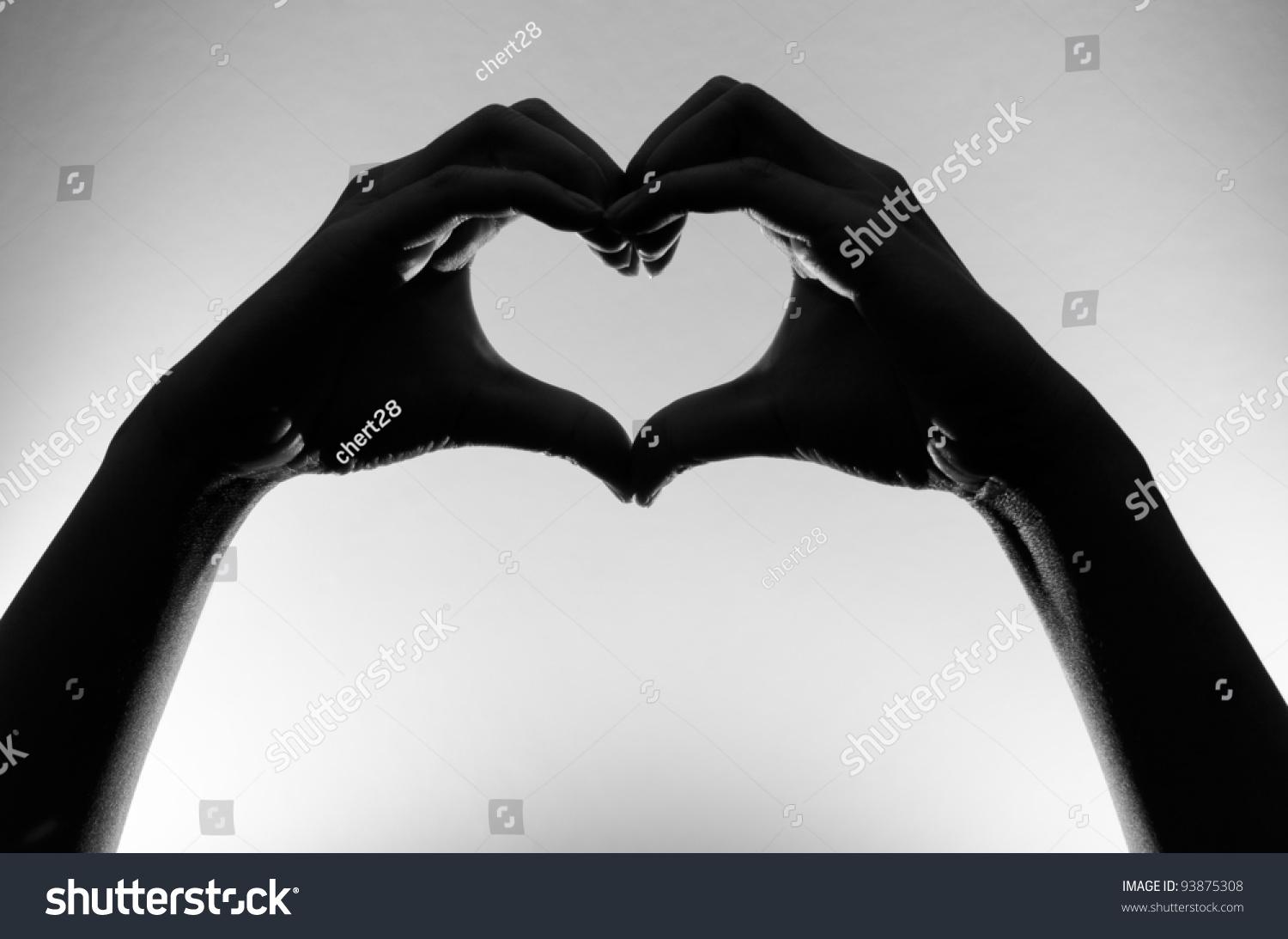 Black white heart hands silhouette stock photo edit now 93875308