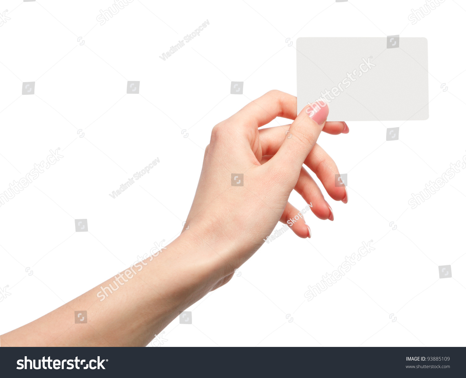 Technology Management Image: Female Hand Holding A Blank Business Card Stock Photo