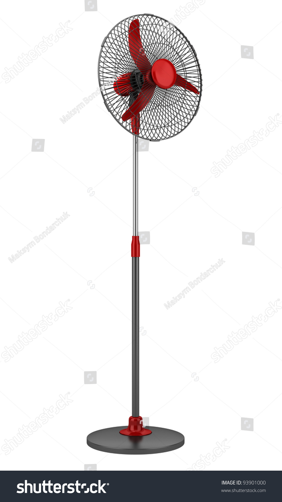 modern electric black red floor fan stock illustration   - modern electric black and red floor fan isolated on white background