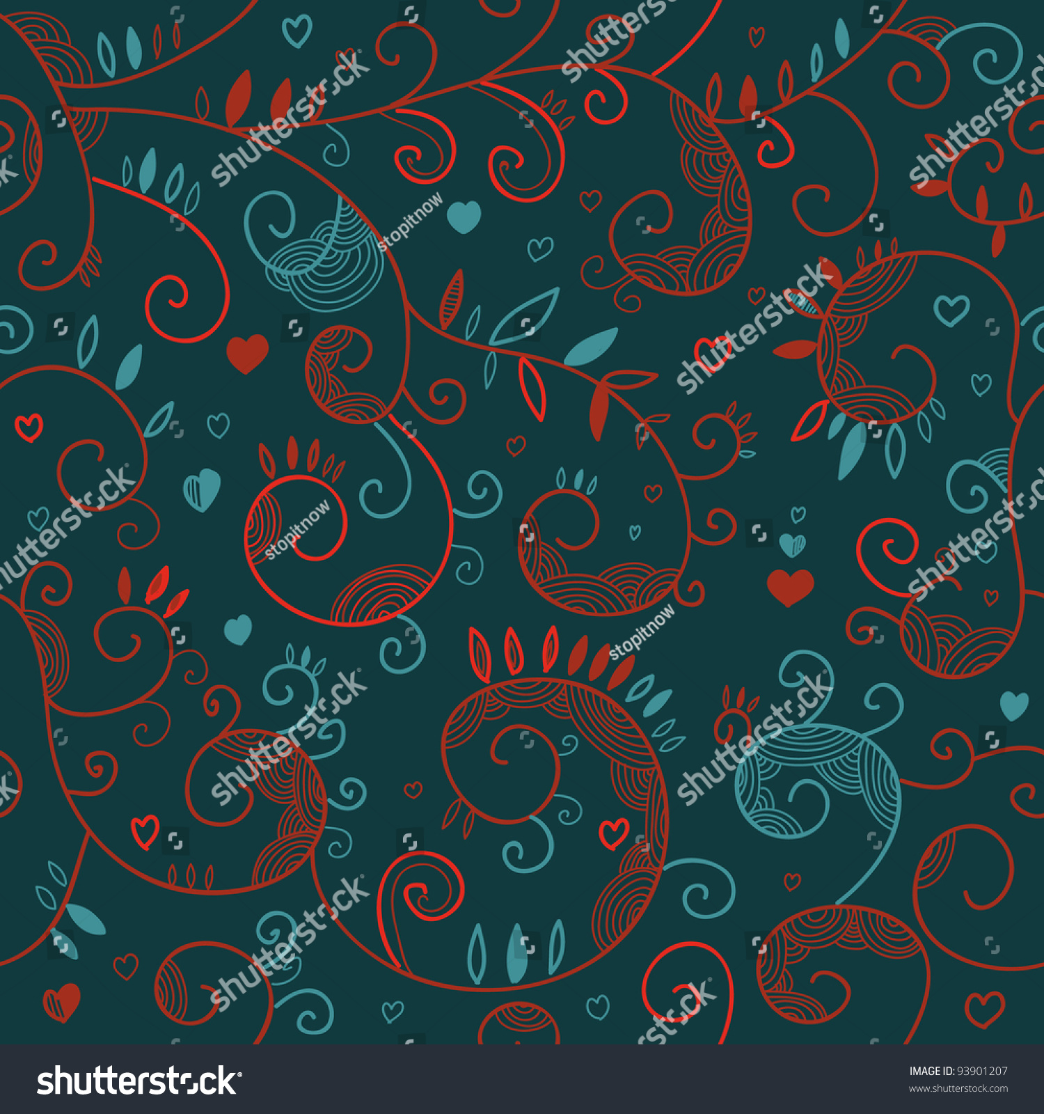 Floral Romantic Seamless Texture Endless Pattern Stock
