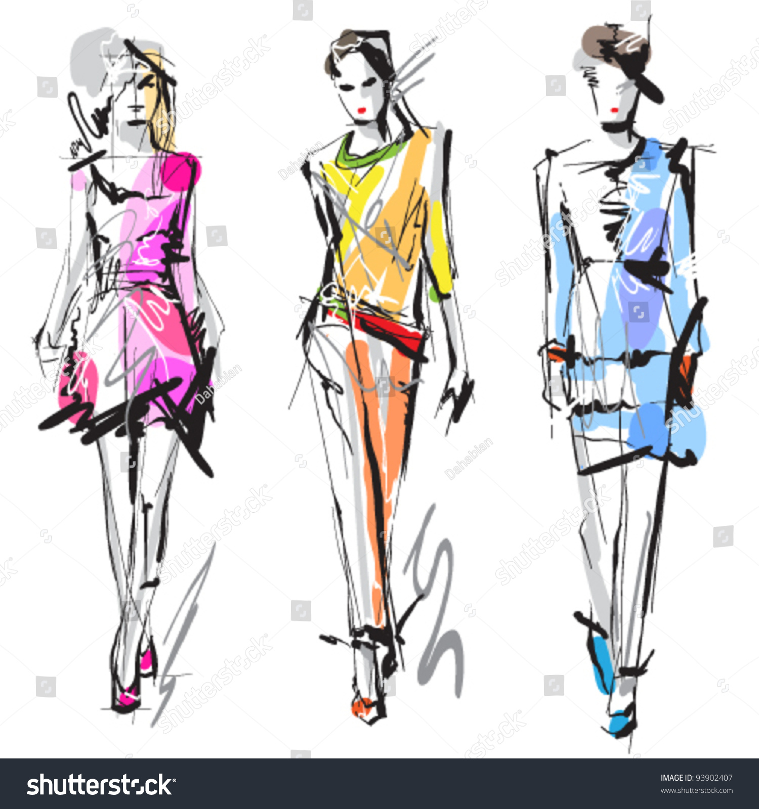 Fashion Models Sketch Stock Vector 93902407 Shutterstock