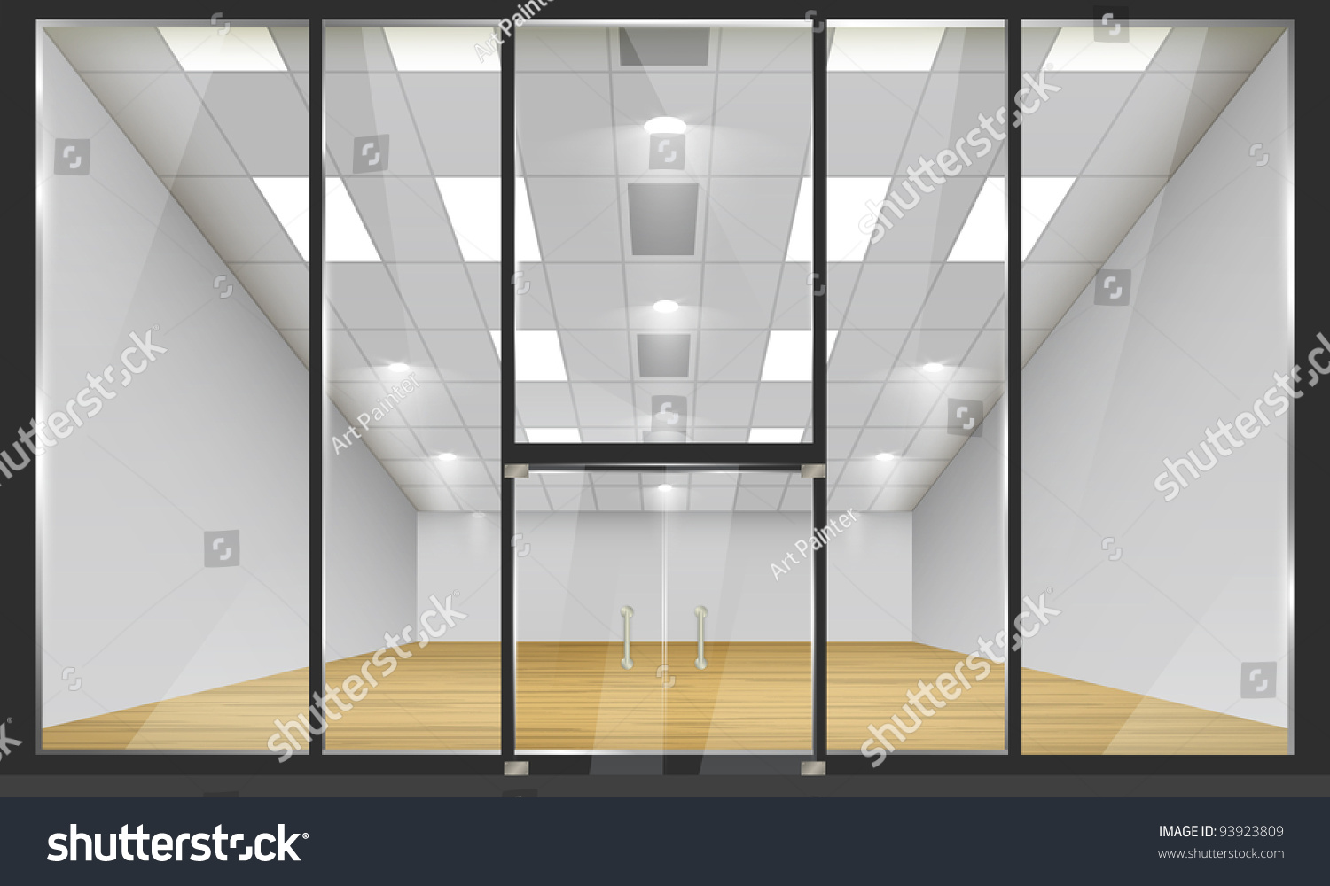 shop glass windows doors front view stock vector 93923809