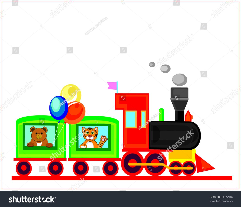 Happy Birthday Cardfunny Traintoy Train Stock Illustration