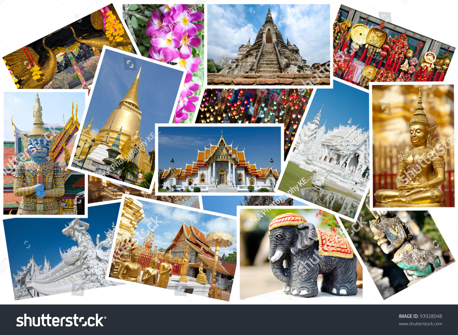 Thailand Postcard Montage Stock Photo Royalty Free 93928048