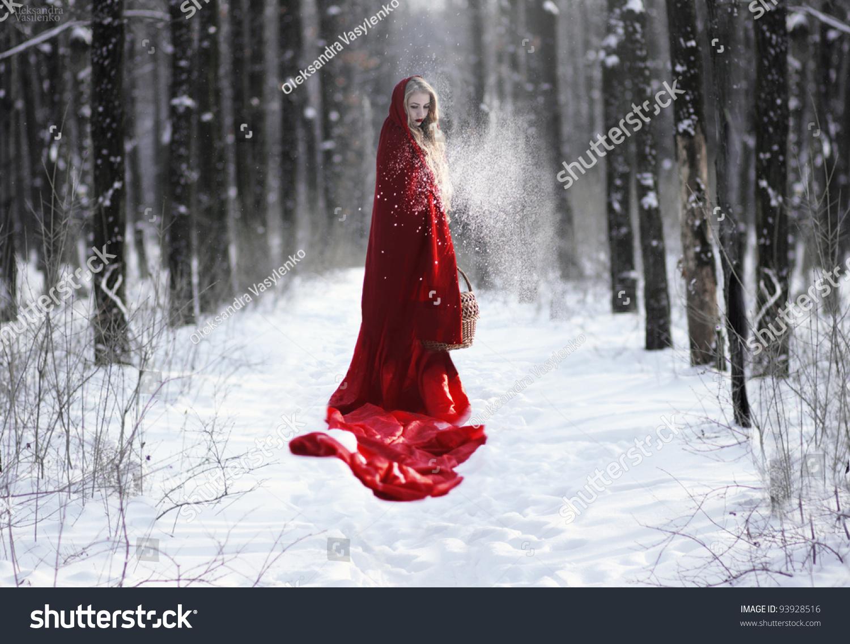 девушка зима платье красное лес бесплатно
