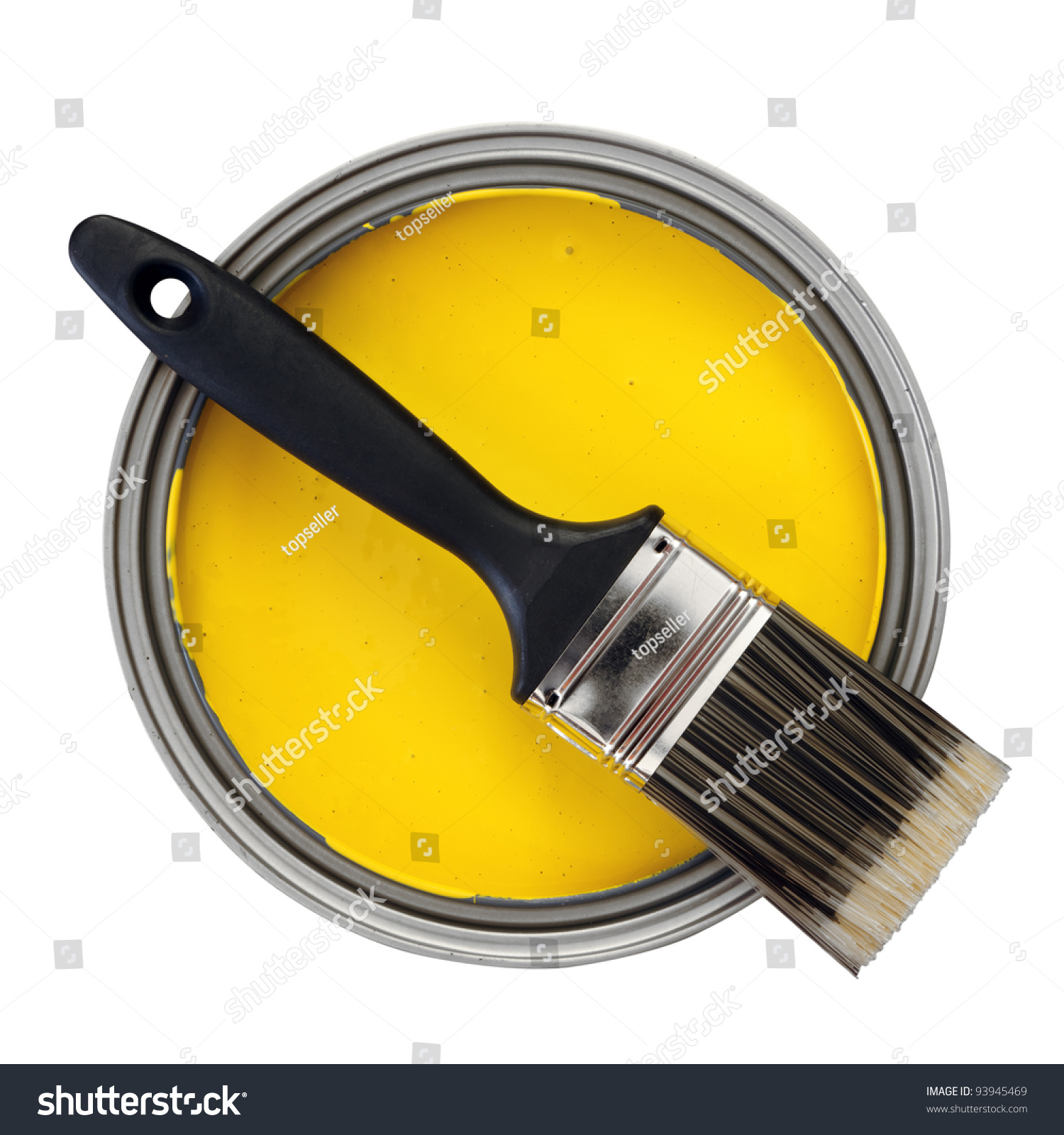 Yellow paint paint brush over white stock photo 93945469 for White paint going yellow