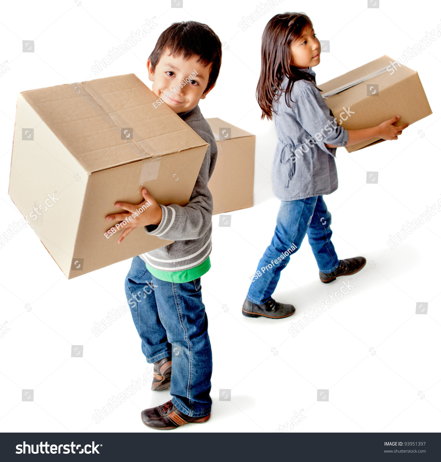 kids moving house carrying cardboard boxes stock photo 93951397 shutterstock. Black Bedroom Furniture Sets. Home Design Ideas