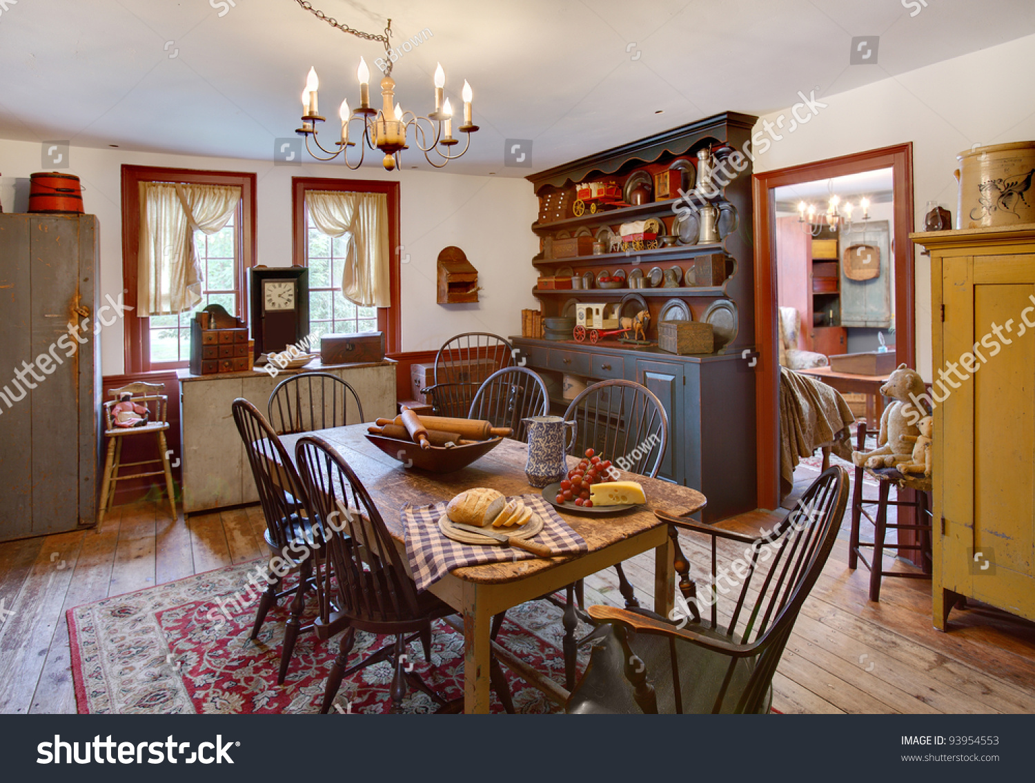 Image Dining Room Primitive Colonial Style Stock Photo