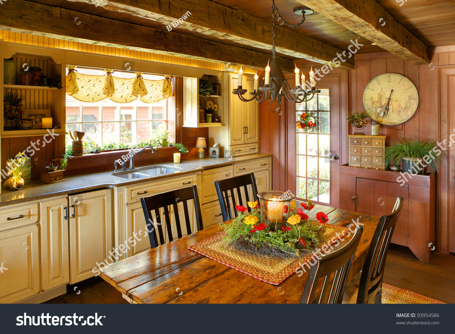 An image of the kitchen and dining room in a primitive for Reproduction homes