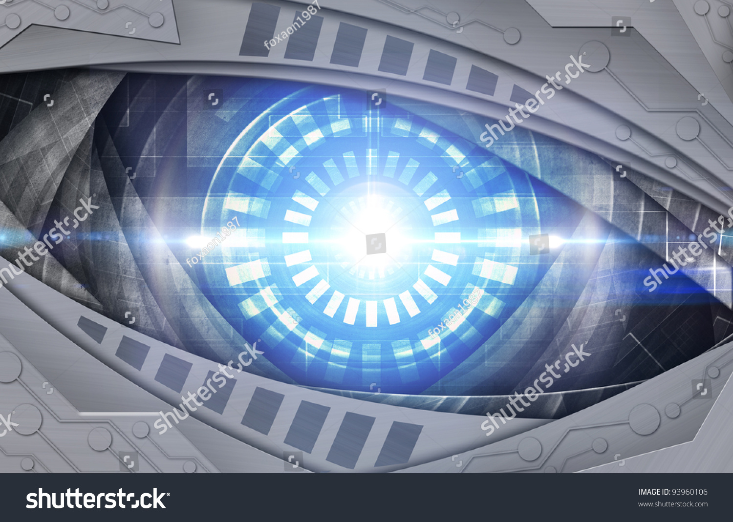abstract robot eye background stock illustration 93960106