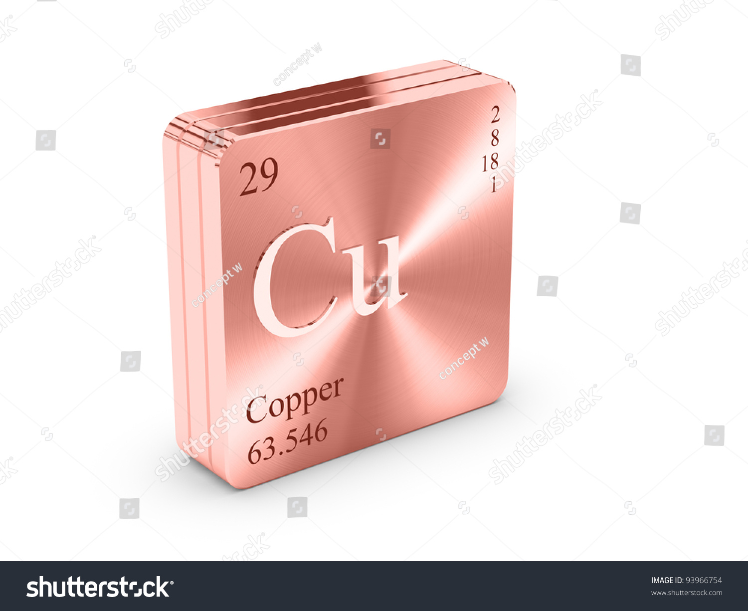 Copper Element Periodic Table On Copper Stock Illustration 93966754