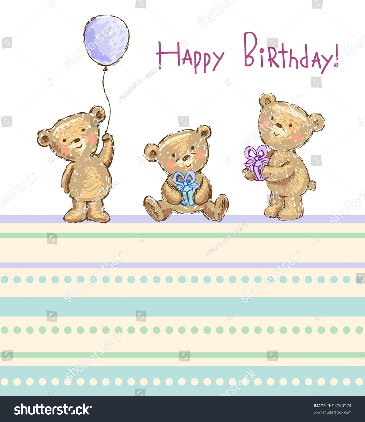 Birthday Greetings Cute Bears Vector Illustration Stock Vector