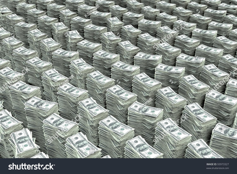 Stack Of Money 100 Dollars Bill : Big stack money dollar bills stock illustration