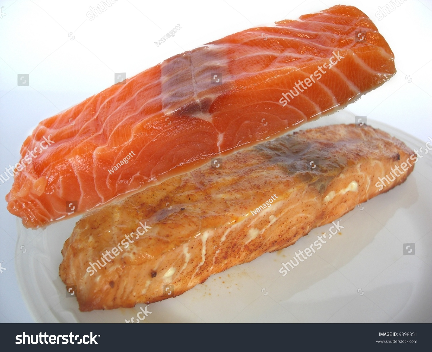 Same Salmon Cooked Raw Stock Photo Edit Now 9398851 Shutterstock