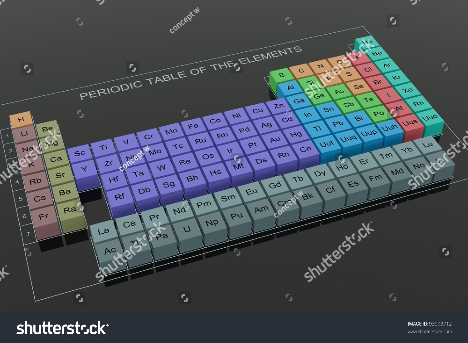 Periodic table elements perspective on black stock illustration periodic table of the elements perspective on black glass background urtaz Images