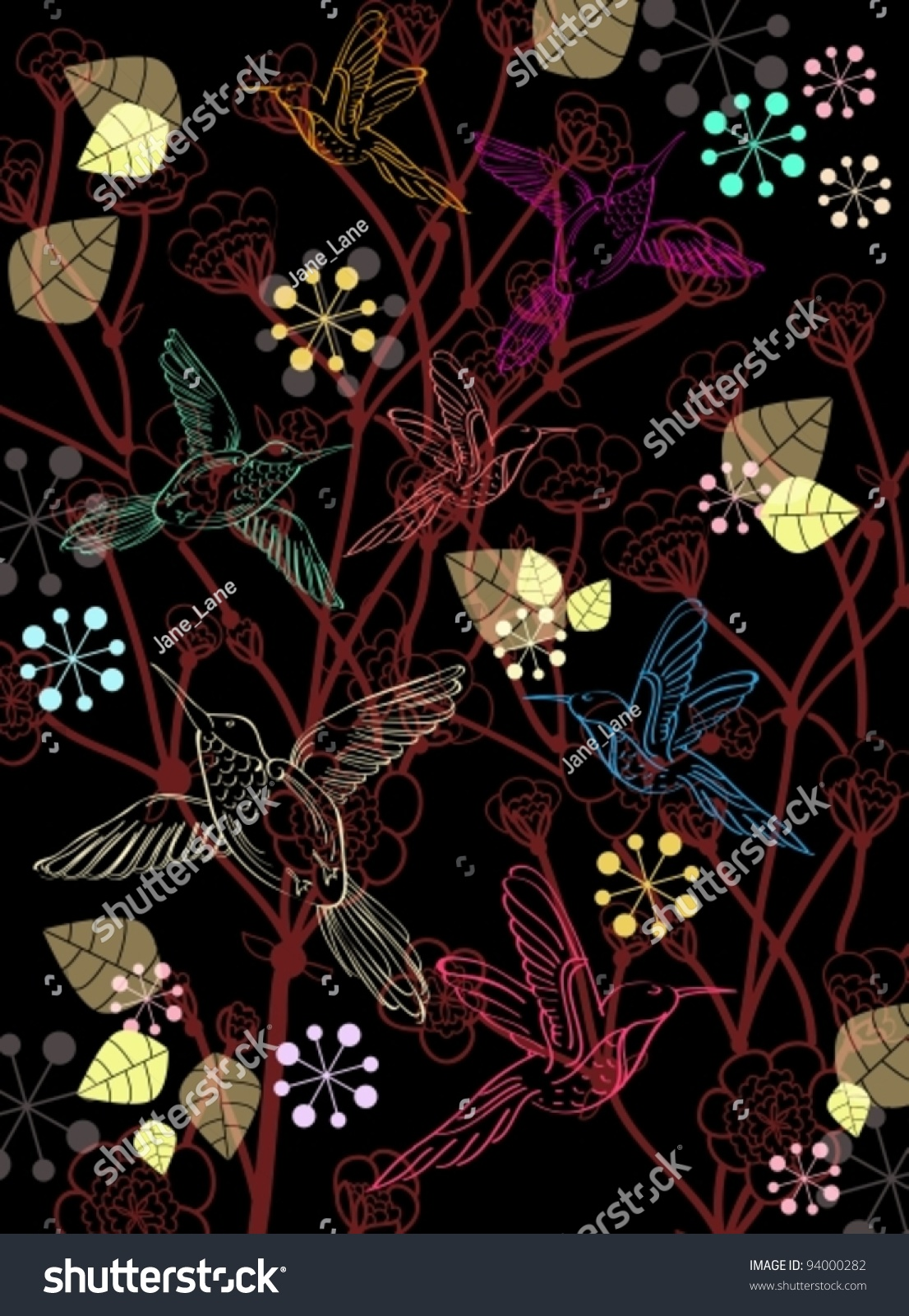 Beautiful Dark Floral Background Birds Vector Stock Vector