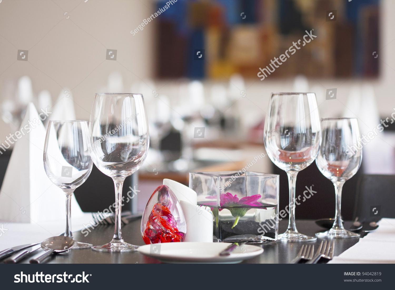 Formal Dining Table Set Up: Formal Dining Table Set Flower Luxury Stock Photo 94042819