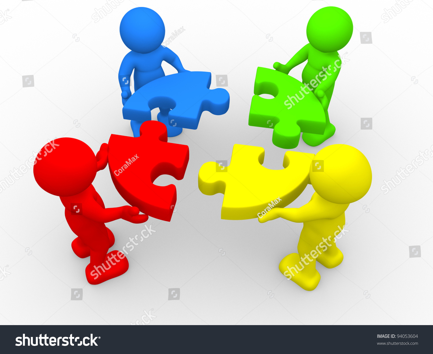 3 D People Human Character Person Pieces Stock Illustration 94053604